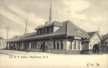 dep-NY128 - Erie R.R. Station, Middletown, New York, NY, USA Railroad Train Depot Postcard Post Card