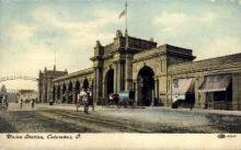 dep-OH014 - Union Station, Columbus, Ohio, OH, USA Railroad Train Depot Postcard Post Card
