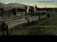 dep-OR009 - Union Depot, Ogden, Oregon, OR, USA Railroad Train Depot Postcard Post Card