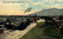 dep-OR012 - Union Station and Grounds, Ogden, Oregon, OR, USA Railroad Train Depot Postcard Post Card