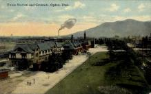 dep-OR014 - Union Station and Grounds, Ogden, Oregon, OR, USA Railroad Train Depot Postcard Post Card