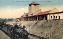 dep-WA002 - Great Northern Depot, Everet, Washington, WA, USA Railroad Train Depot Postcard Post Card
