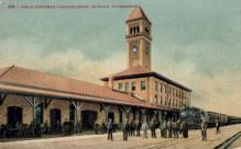 dep-WA006 - Great Northern Railroad Depot, Spokane, Washington, WA, USA Railroad Train Depot Postcard Post Card