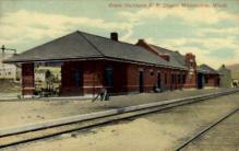 dep-WA008 - Great Northern Railroad Depot, Wenatchee, Washington, WA, USA Railroad Train Depot Postcard Post Card