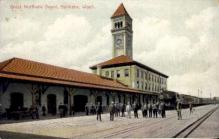 dep-WA012 - Great Northern Depot, Spokane, Washington, WA, USA Railroad Train Depot Postcard Post Card