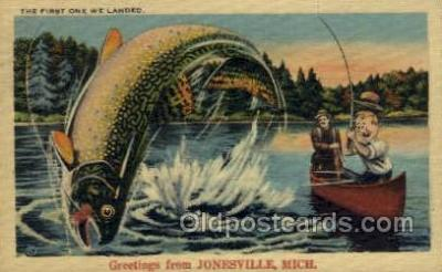 exa002153 - Jonesville, Michigan, USA Exaggeration Old Vintage Antique Postcard Post Card