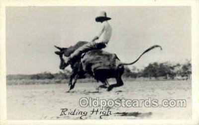exa002165 - Bull Riding, Western Old Vintage Antique Postcard Post Card