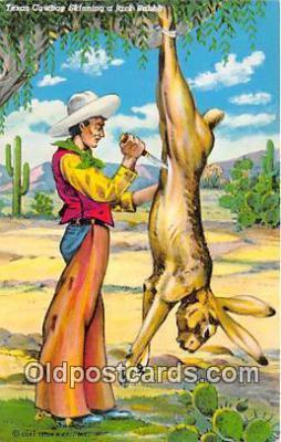 Texas Cowboy Skinning a Jack Rabbit