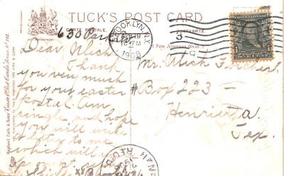 eyy0001845 - Post Card Old Vintage Antique  back