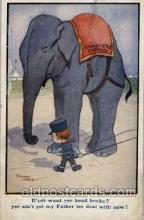 ele001064 - Artist Signed Ernist Noble, Swankers Circus, Elephant, Elephants, Postcard Post Card