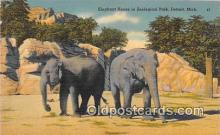 ele001111 - Elephant House, Zoological Park Detroit, Michigan, USA Postcards Post Cards Old Vintage Antique