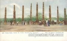 exp030035 - Totem Poles 1928 Lewis & Clark Centennial Exposition, Postland, Oregon USA Postcard Post Card