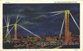 exp100189 - Sky Ride 1933 Chicago, Illinois USA Worlds Fair Exposition Postcard Post Card