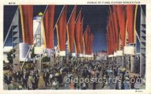 exp100290 - Avenue of flags Chicago Worlds Fair 1933, Exposition Postcard Post Card