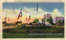exp110043 - Patio De Honor and Texas USA State Building Pan American Exposition 1937 Dallas Texas USA, Postcard Post Card