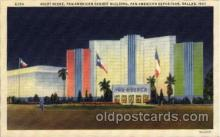 exp110071 - Night Scene, Pan American Exhibit Building Pan American Exposition 1937 Dallas Texas USA, Postcard Post Card