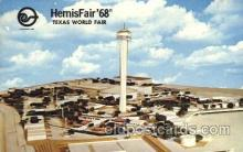 exp190006 - View of Fair Hemisfair Exposition 1968, Texas, USA Worlds Fair, Postcard Post Card