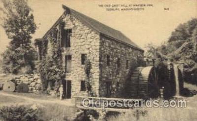 fac001102 - Old Grist Mill, Wayside Inn Sudbury, MA, USA Postcard Post Cards Old Vintage Antique