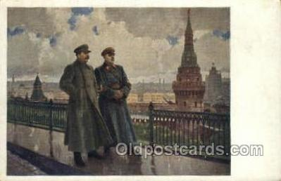 fam100328 - Stalin & Voroshilov Famous People Old Vintage Antique Postcard Post Card