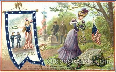 fgs001078 - Soldier's Grave Flag, Flags, Postcard Post Card