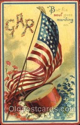 fgs001083 - Artist Ellen Clapsaddle, Marching Flag, Flags, Postcard Post Card