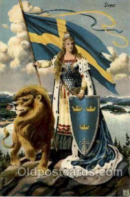 fgs100077 - Sweeden Flag, Flags, Postcard Post Card