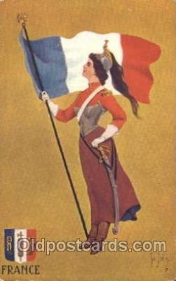 fgs100085 - Artist St. John, France Country Flag, Flags, Postcard Post Card