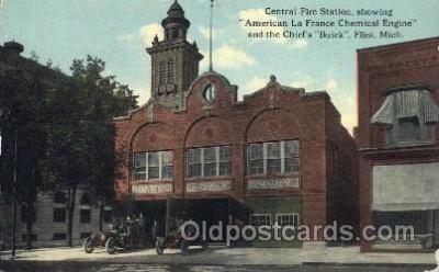 fir001029 - Central Fire Station, Flint, Michigan, USA, Fire Related Postcard Post Card