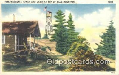 fir001064 - Fire Warden's Tower & Cabin Bald Mountain Postcard Post Cards Old Vintage Antique