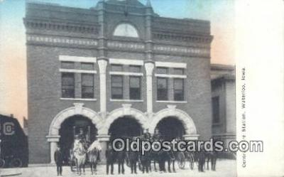 fir001079 - Central Fire Station Waterloo, IA, USA Postcard Post Cards Old Vintage Antique