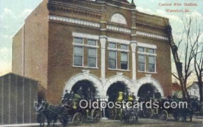 fir001080 - Central Fire Station Waterloo, IA, USA Postcard Post Cards Old Vintage Antique