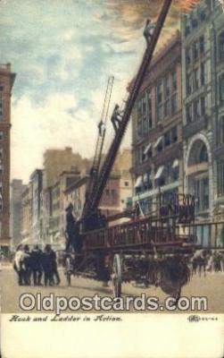 fir001089 - Hook & Ladder in Action  Postcard Post Cards Old Vintage Antique