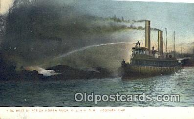 fir001103 - Fire Boat in Action, DL & WRR Hoboken Fire North River Postcard Post Cards Old Vintage Antique