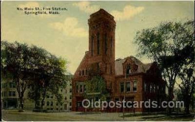 fir050006 - Fire station, Springfield, Mass., Massachusetts, USA Fire Department Postcard Post Card