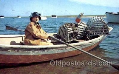 fis001098 - Lobsterman Fisherman, Cape Cod, Massachusetts, USA Fishing Postcard Post Card
