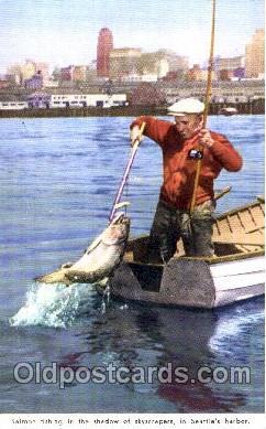 fis001114 - Salmon fishing in the shadow of skyscrapers, in the Seattle Harbor, Washington, USA, Fishing Postcard Post Card