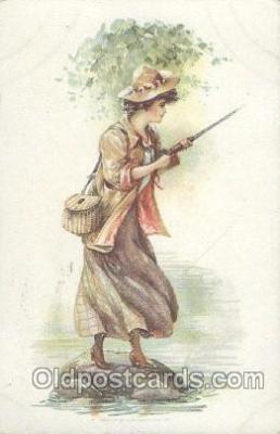 fis001145 - Woman, Fishing Postcard Post Card