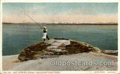 fis001254 - Hot springs cone, Yellowstone Park Fishing Postcard Post Card