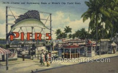 fis001295 - Miami Florida, Yacht Basin, USA Fishing Old Vintage Antique Postcard Post Card