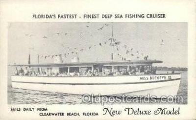 fis001310 - Clearwater Beach, Fl, USA Fishing Old Vintage Antique Postcard Post Card