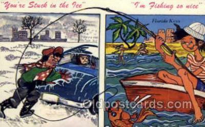 fis001323 - Florida Keys, USA Fishing Old Vintage Antique Postcard Post Card