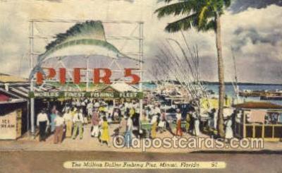 fis001327 - Pier 5 Miami, Florida, USA Fishing Old Vintage Antique Postcard Post Card