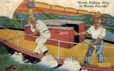 fis001330 - Miami, FL USA Fishing Old Vintage Antique Postcard Post Card