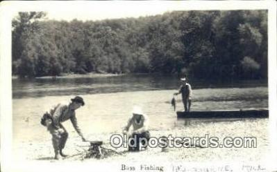 fis001526 - Bass Fishing, Melbourne, Ark written in Fishing Postcard Real Photo Post Card Old Vintage Antique