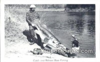 fis001539 - Catch & Release Bass Fishing Fishing Postcard Printed Photo Post Card Old Vintage Antique
