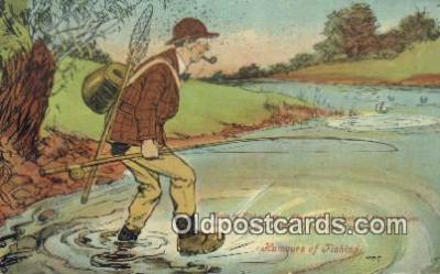 fis001568 - Humours of Fishing  Postcard Post Cards Old Vintage Antique