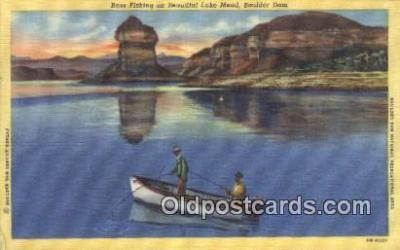 fis001588 - Bass Fishing Lake Mead, Boulder Dam, USA Postcard Post Cards Old Vintage Antique