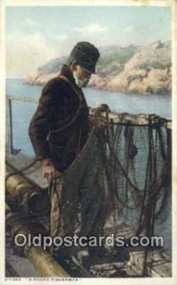 fis001598 - Shore Fisherman  Postcard Post Cards Old Vintage Antique