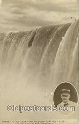 fmp001005 - Bobby Leach's, Awful Plunge over Niagara Falls, July 25, 1911  Postcard Post Cards Old Vintage Antique