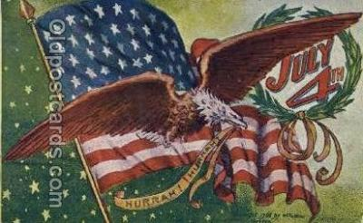 foj001194 - Fourth of July 4th, Independence Day, Old Vintage Antique Postcard Post Card